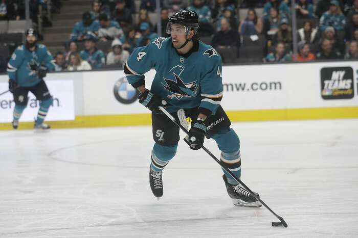 San Jose Sharks defenseman Brenden Dillon (4) against the Anaheim Ducks during an NHL hockey game in San Jose, Calif., Monday, Jan. 27, 2020. (AP Photo/Jeff Chiu)