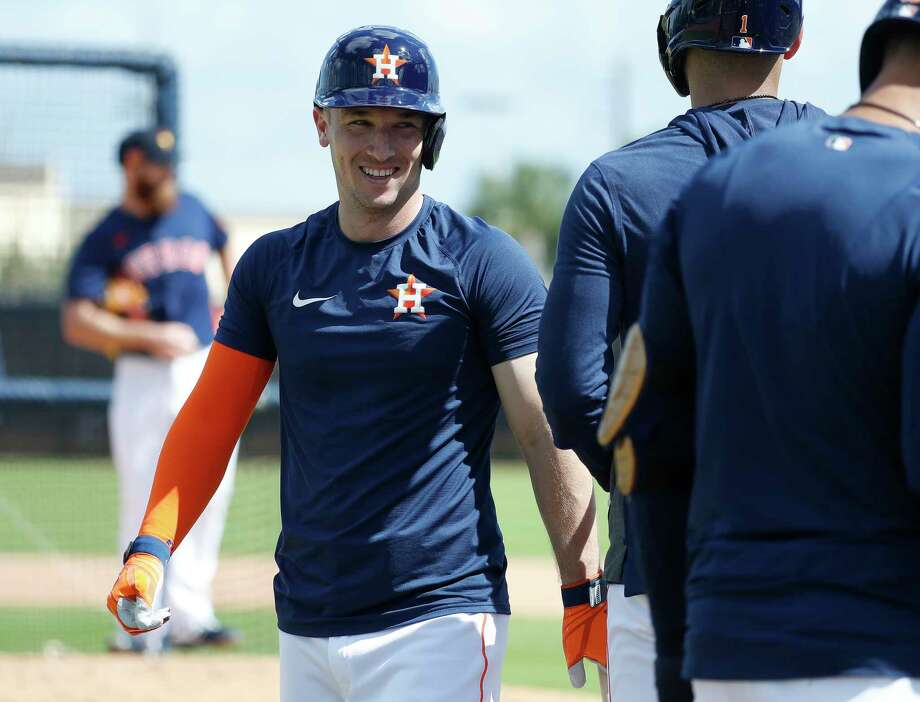 Houston Astros Alex Bregman smiles after hitting a home run off of pitcher Cy Sneed during live batting practice during the Houston Astros spring training workouts at the Fitteam Ballpark of The Palm Beaches, in West Palm Beach , Tuesday, Feb. 18, 2020. Photo: Karen Warren, Staff Photographer / © 2020 Houston Chronicle
