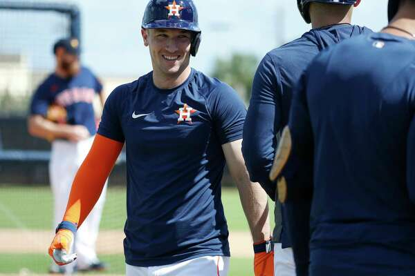 Houston Astros Alex Bregman smiles after hitting a home run off of pitcher Cy Sneed during live batting practice during the Houston Astros spring training workouts at the Fitteam Ballpark of The Palm Beaches, in West Palm Beach , Tuesday, Feb. 18, 2020.