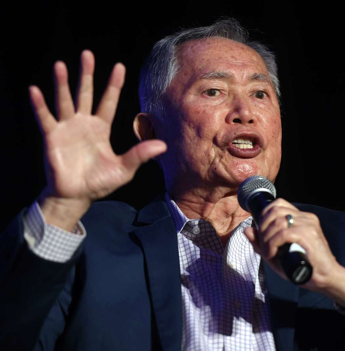 Actor and activist George Takei speaks with composer Byron Au Yong (not in photo) before receiving the Visionary Leadership Award by the International Festival of Arts & Ideas at the Omni New Haven Hotel at Yale on February 18, 2020. The award honors a person whose work impacts the world.