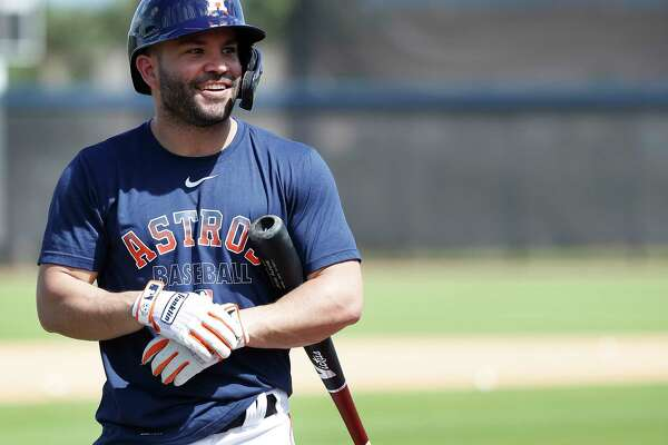 Houston Astros second baseman Jose Altuve (27) smiles during batting practice during the Houston Astros spring training workouts at the Fitteam Ballpark of The Palm Beaches, in West Palm Beach , Tuesday, Feb. 18, 2020.