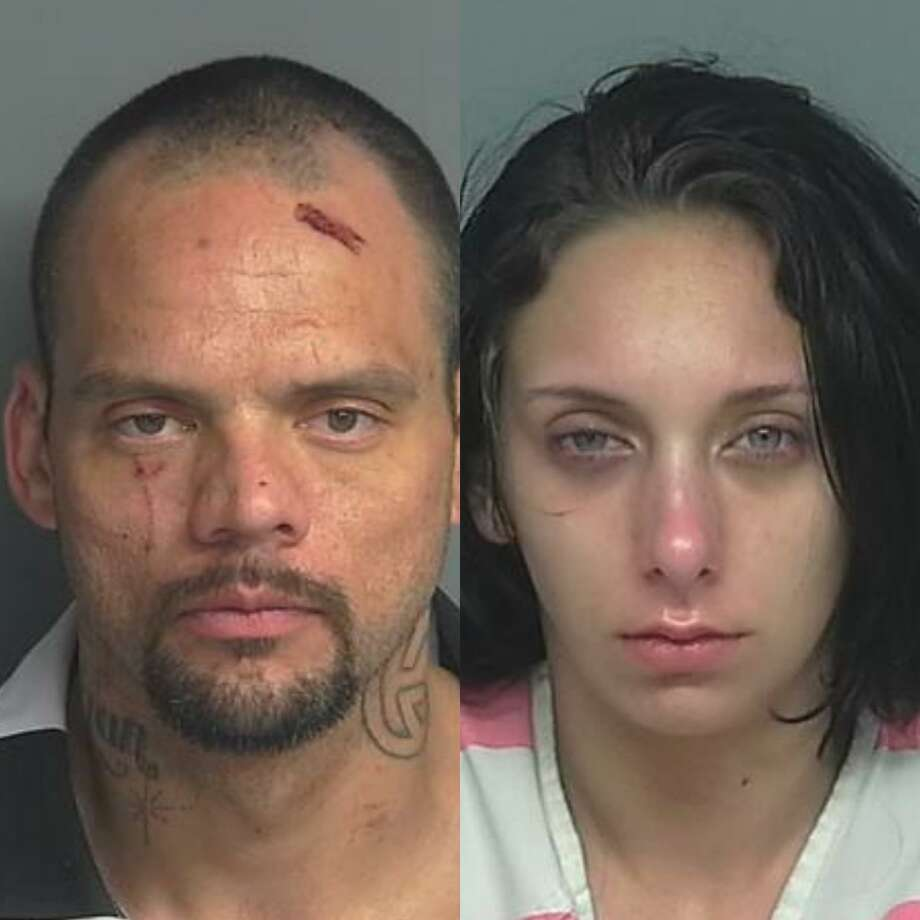 Dylan Gregory Brown, 36, of Magnolia, is being charged with evading arrest with a vehicle, a third-degree felony, burglary of building, unauthorized use of a vehicle, both state jail felonies, resisting arrest, search or transportation, and evading arrest, both Class A misdemeanors. Jasmine Loraine Lugo, 19, of Plantersville, is being charged with evading arrest, a Class A misdemeanor, and theft more than $100, a Class C misdemeanor. Photo: Courtesy Of The Montgomery County Sheriff's Office