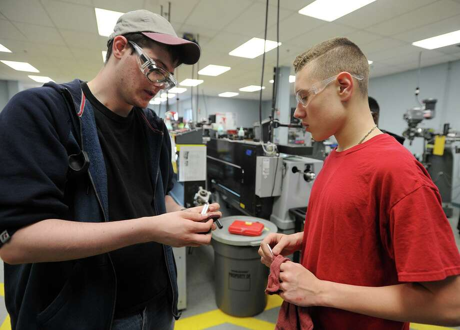 Bassick High School students enrolled in the advanced manufacturing program at Housatonic Community College in Bridgeport, Conn. on Thursday, April 28, 2016. Photo: Brian A. Pounds / Hearst Connecticut Media / Connecticut Post