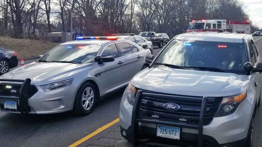 Emergency personnel block off traffic lanes on I-84 eastbound following a two-vehicle accident on March 18, 2019. Photo: Danbury Fire Department
