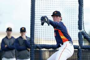 Houston Astros pitcher Forrest Whitley (68) pitches during a live batting practice session during the Houston Astros spring training workouts at the Fitteam Ballpark of The Palm Beaches, in West Palm Beach , Tuesday, Feb. 18, 2020.