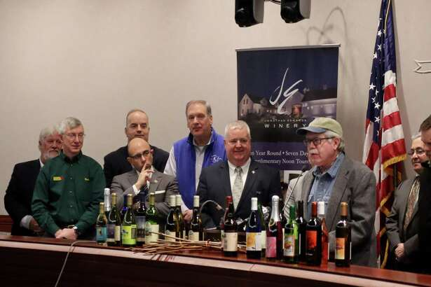 State Reps. Jason Perillo and Ben McGorty joined members of the Connecticut Vineyard and Winery Association at the State Capitol on Tuesday to call on lawmakers to fix language in the Liquor Control Act that will negatively impact Connecticut Farm Wineries.