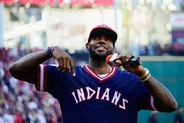 CLEVELAND, OH - OCTOBER 07: LeBron James #23 of the Cleveland Cavaliers addresses the crowd prior to game two of the American League Divison Series between the Boston Red Sox and the Cleveland Indians at Progressive Field on October 7, 2016 in Cleveland, Ohio. (Photo by Jason Miller/Getty Images)