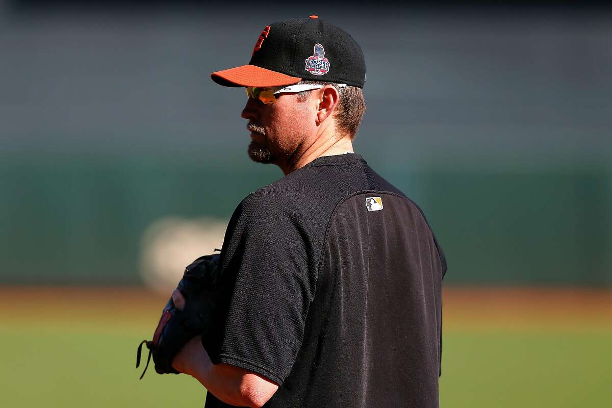 In this file image, Aubrey Huff of the San Francisco Giants looks on during batting practice against the Detroit Tigers during Game One of the World Series at AT&T Park on October 24, 2012 in San Francisco.