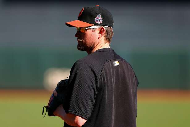 In this file image, Aubrey Huff, #17 of the San Francisco Giants looks on during batting practice against the Detroit Tigers during Game One of the Major League Baseball World Series at AT&T Park on October 24, 2012 in San Francisco, California. (Jason O. Watson/Getty Images/TNS)