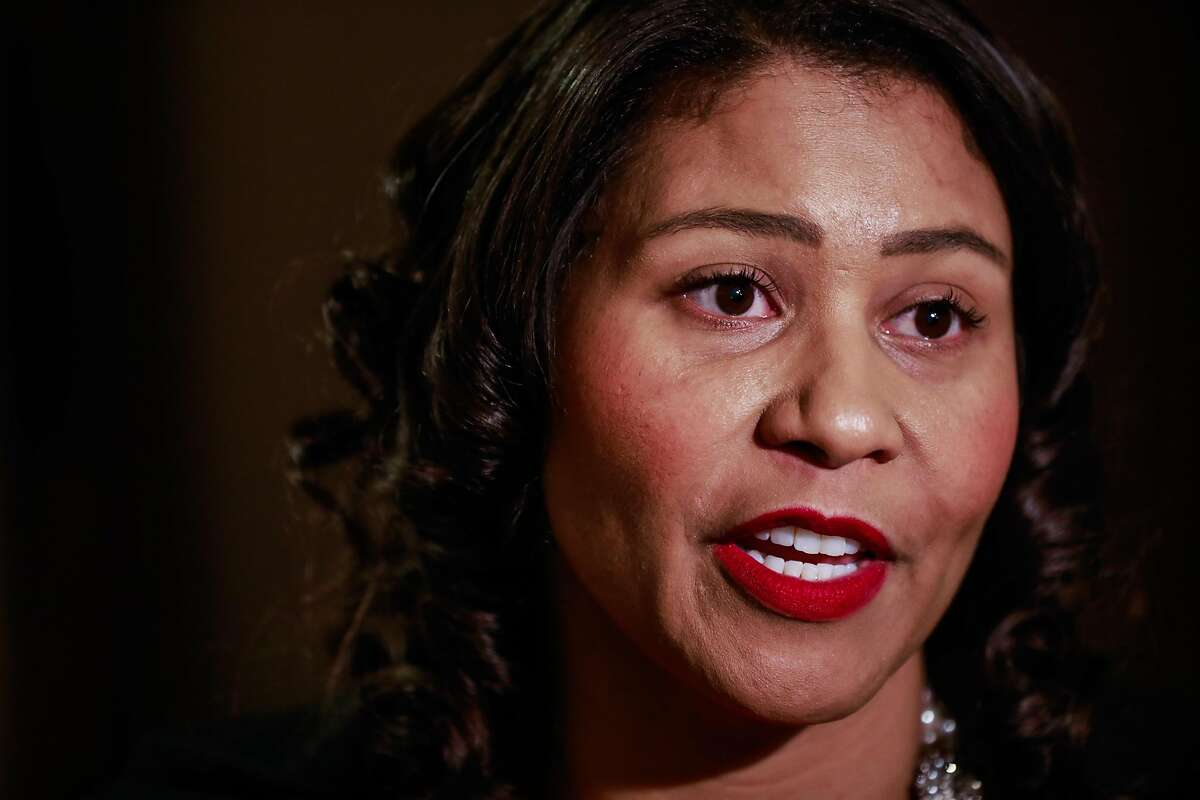 Mayor London Breed (center) speaks to the media after a press conference regarding gay pride at City Hall on Tuesday, Feb. 18, 2020 in San Francisco, California.