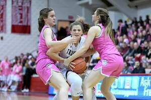 Girls Basketball action between Trumbull high and St. Joseph at Fairfield University's Alumni Hall, Friday, Feb. 7, 2020.