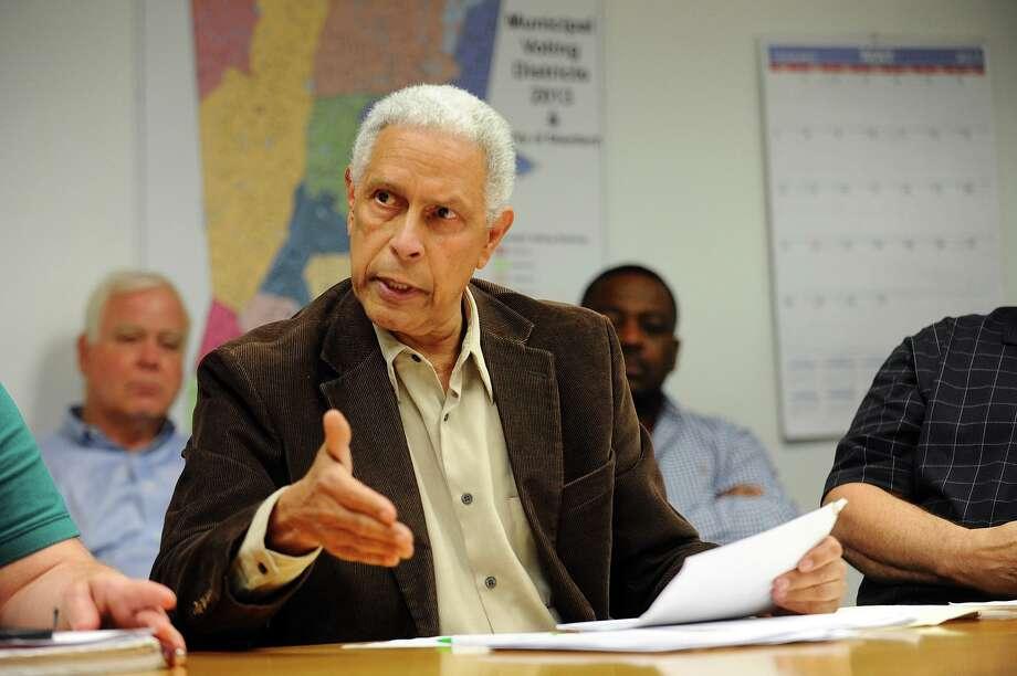 Board of Rep. member Virgil de la Cruz, D-2, speaks during a meeting in 2017. Photo: Hearst Connecticut Media / Stamford Advocate