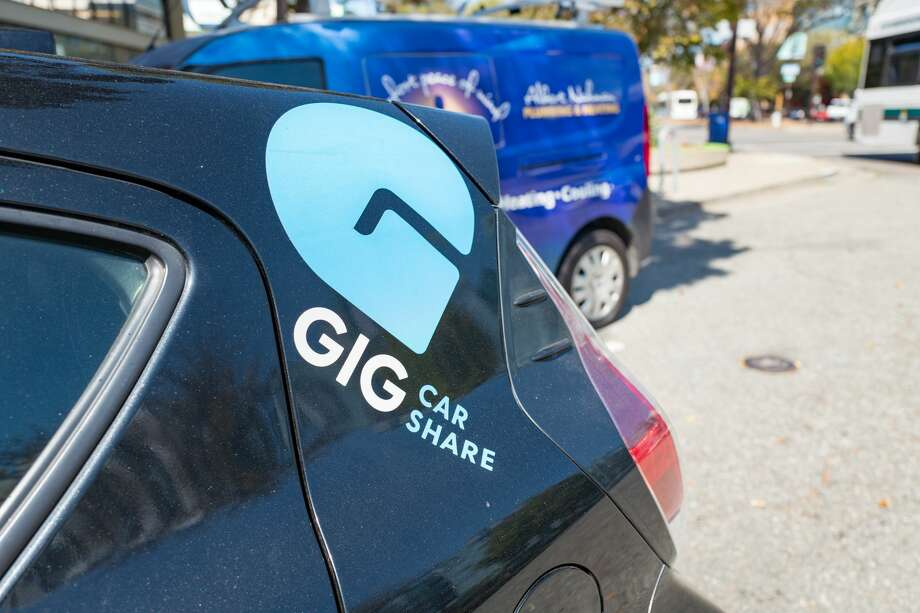 A 2018 file photo shows a Gig Car Share vehicle in Berkeley. Guardian U.S. reporter Kari Paul was stranded not far from the Northern California coastal town of Gualala on Sunday after her app-rental Gig Car lost cell phone service, preventing her from restarting the car. Photo: Smith Collection/Gado/Getty Images
