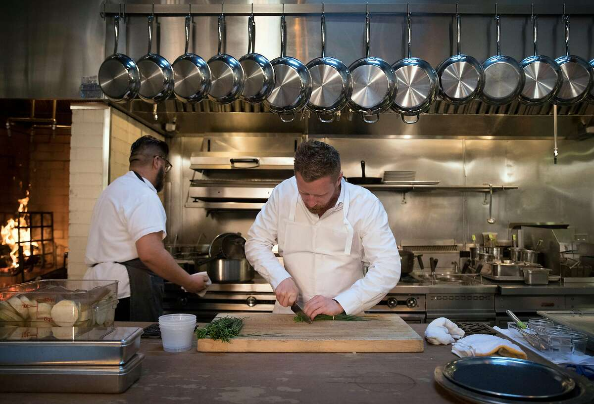 Chef Thomas McNaughton helps with some prep work before dinner service at Central Kitchen restaurant in San Francisco, Calif., on Wednesday, February 12, 2020. Contemporary Italian restaurant Flour + Water has become one of San Francisco?s most popular restaurants since it opened in 2009. Founders McNaughton and partners went on to found Ne Timeas Restaurant Group, one of roughly two-dozen small, local restaurant groups that have emerged in San Francisco in recent years. These groups are responsible for some of the city's most popular restaurants, managing to endure the steep challenges of opening and keeping afloat a mid-priced to upscale restaurant in San Francisco.