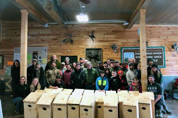 MI Birds helps recruit volunteers for stewardship events like this wood duck nest box-building workshop, part of Michigan United Conservation Clubs' On the Ground volunteer habitat improvement program, at Shiawassee River State Game Area in Saginaw County in February 2019. (Courtesy photo/Michigan United Conservation Clubs)