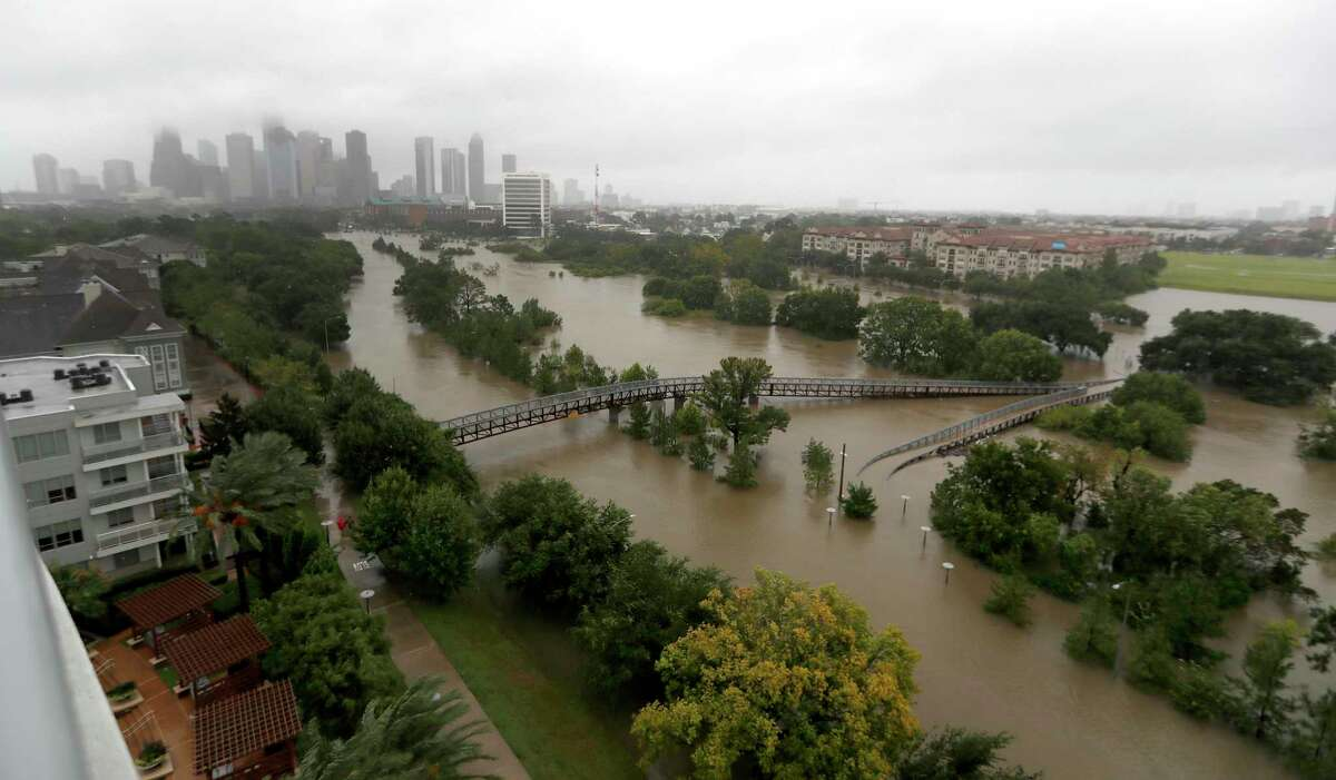 Overhead view of the floods from Buffalo Bayou on Memorial Drive and Allen Parkway, as heavy rains continued falling from Hurricane Harvey, Monday, Aug. 28, 2017, in Houston.