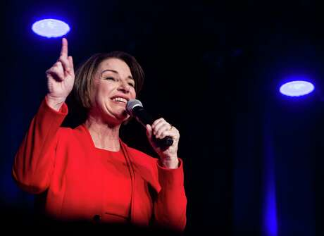 """Democratic presidential candidate Sen. Amy Klobuchar, D-Minn., speaks at the Clark County Democratic Party """"Kick-Off to Caucus 2020"""" event at the Tropicana in Las Vegas on Saturday, Feb. 15, 2020."""
