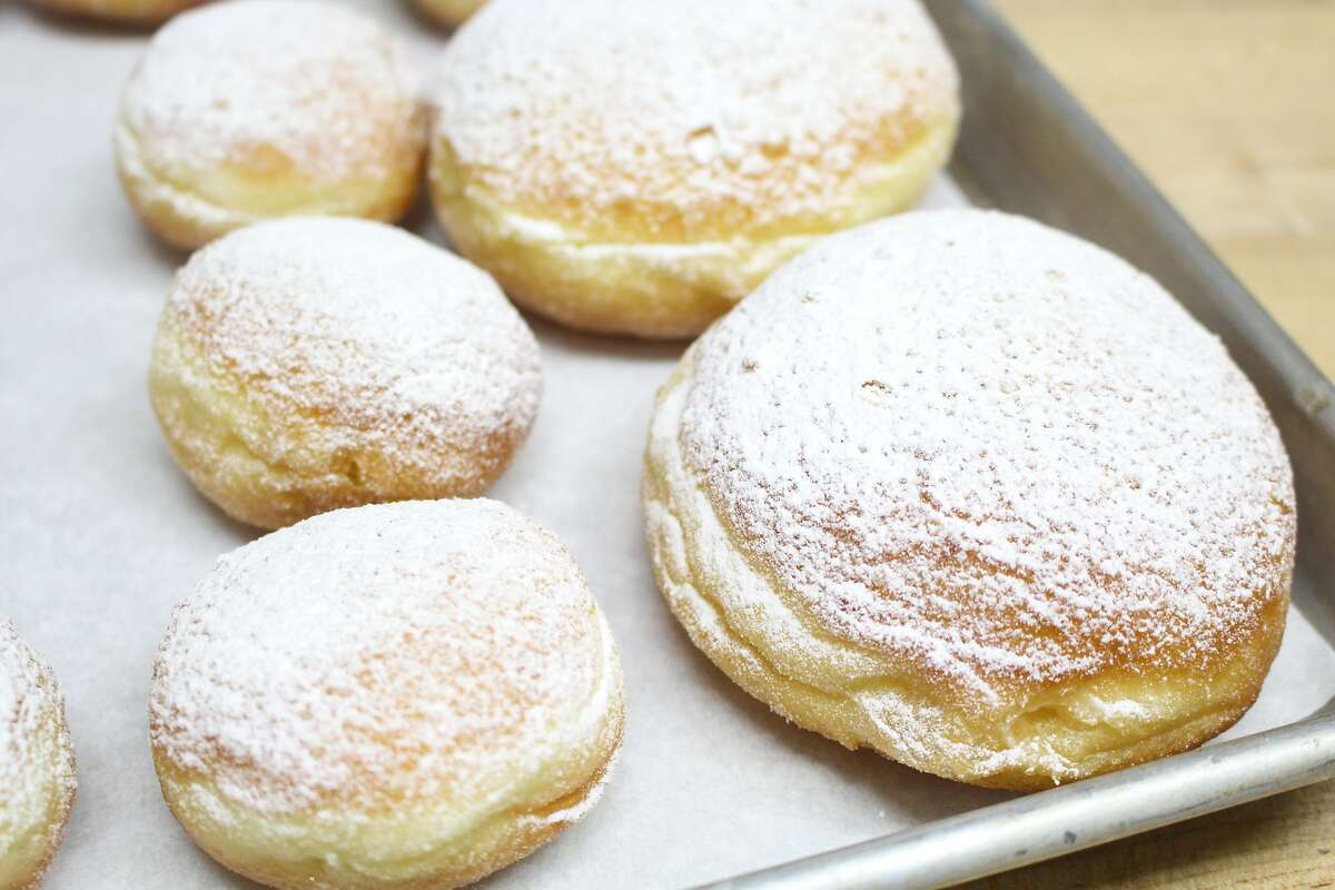 Berliners, German doughnuts filled with vanilla cream or jam, from San Francisco bakery Hahdough.