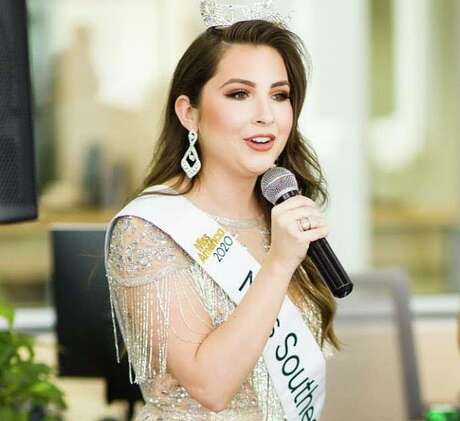 Angela Witzkoske, Miss Southeast Texas, performs at Jamie's Hope Foundation on Westheimer in December. Her national anthem rendition at last week's A&M basketball game against Georgia was cut short when she was hit with dehydration. The fans at the game finished for her.