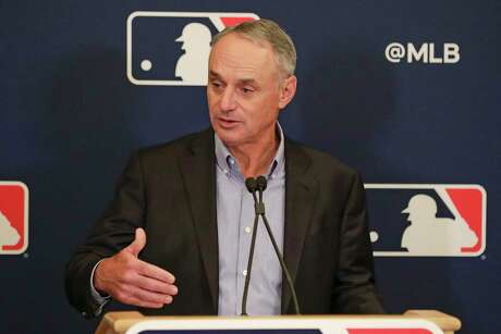 MLB Commissioner Rob Manfred, shown earlier this year, said Tuesday that MLB owes Mike Fiers for speaking up.