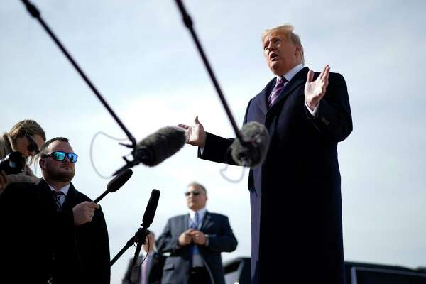 President Donald Trump speaks to reporters at Joint Base Andrews in Maryland before departing on a trip to California, Tuesday, Feb 18, 2020. Trump renewed his attacks on law enforcement on Tuesday, denouncing the prosecutors and judge in the case of his longtime friend Roger Stone just days after Attorney General William Barr warned that the presidenta€™s criticisms were making it a€œimpossiblea€ to do his job. (Doug Mills/The New York Times)