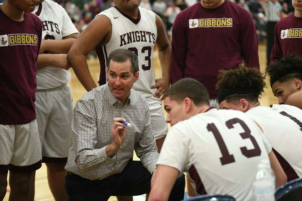 Bishop Gibbons head coach Steve Garzone talks to his players at a timeout during a game against Fonda at Fulton Montgomery Community College on Tuesday, Feb. 18, 2020 in Johnstown, N.Y. (Lori Van Buren/Times Union)