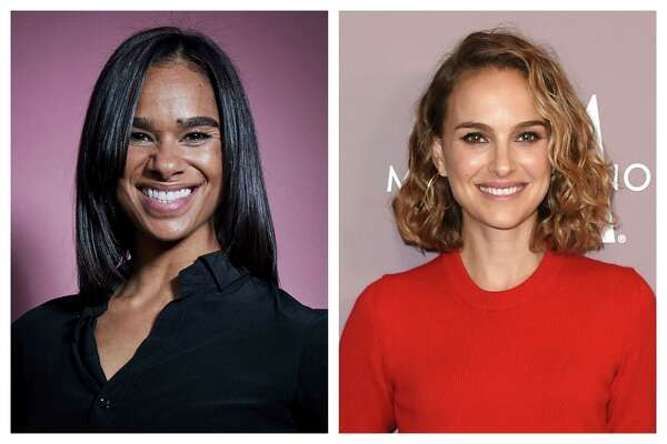 This combination of 2019 photos shows ballet dancer Misty Copeland in New York and actress Natalie Portman in Beverly Hills, Calif. In this spring of 2020, they will be sharing a stage as they discuss a common identity _ children's book author. (Photo by MattLicari, Jordan Strauss/Invision/AP)