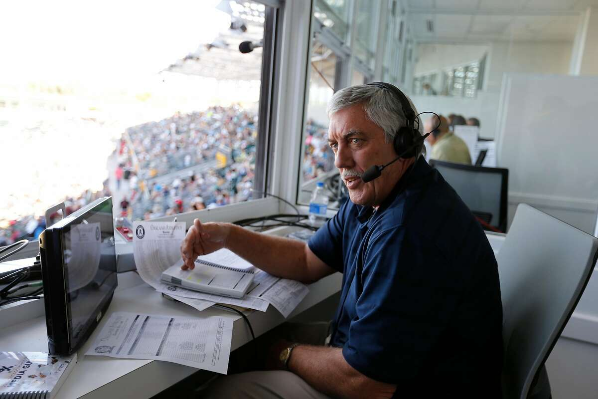 FILE PHOTO: Broadcaster Ray Fosse of the Oakland A's works from the pressbox during the game against the Chicago White Sox at Hohokam Stadium on March 8, 2015 in Mesa, Ariz. Fosse died Wednesday at 74.