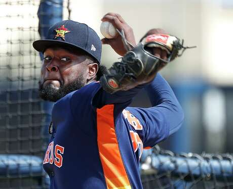 Houston Astros pitcher Cristian Javier (97) pitches during a live batting practice session during the Houston Astros spring training workouts at the Fitteam Ballpark of The Palm Beaches, in West Palm Beach , Tuesday, Feb. 18, 2020.