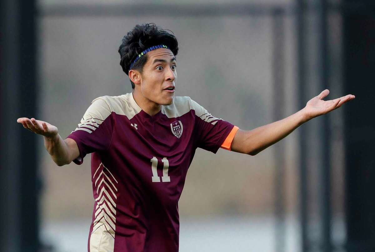 FILE PHOTO - Magnolia West midfielder Carlos Larios (11) reacts to a foul call that would lead to a peanty kick in the first period of a high school soccer match during the Kily Cup at Woodforest Bank Stadium, Friday, Jan. 3, 2020, in Shenandoah.
