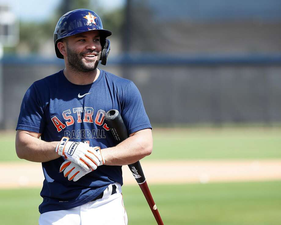 Astros second baseman Jose Altuve smiles during batting practice at spring training workouts in West Palm Beach, Fla. Photo: Karen Warren / Houston Chronicle