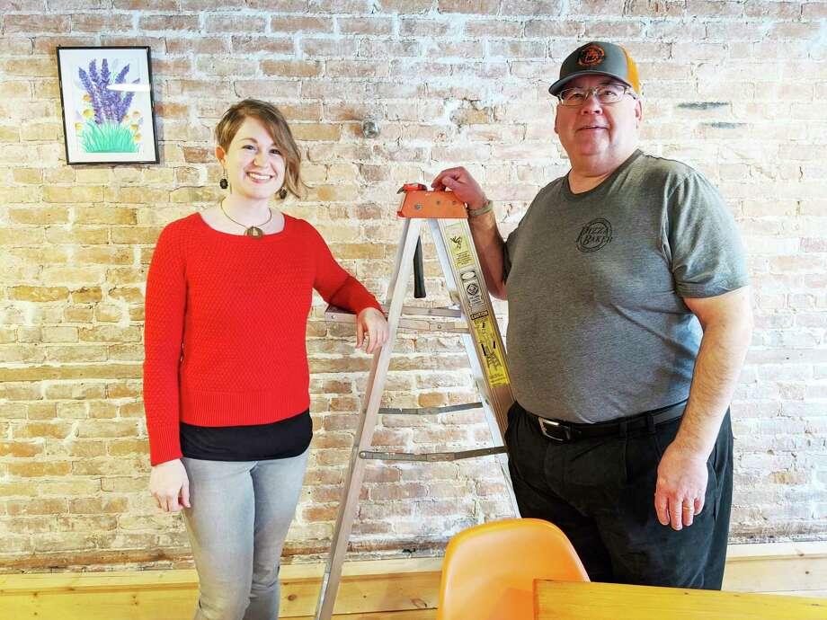 Artshop Program Coordinator Allise Noble andPizza Baker founder Jim Baker. (Photo provided/Creative 360)