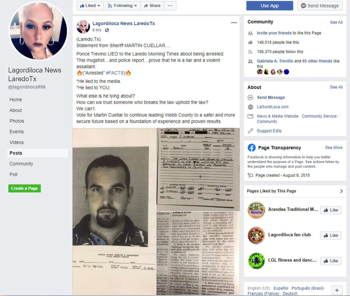 """On Tuesday evening, Priscilla """"La Gordiloca"""" Villarreal posted to her thousands of followers on Facebook a statement she says is from Cuellar along with an alleged mugshot and police report from 1995."""