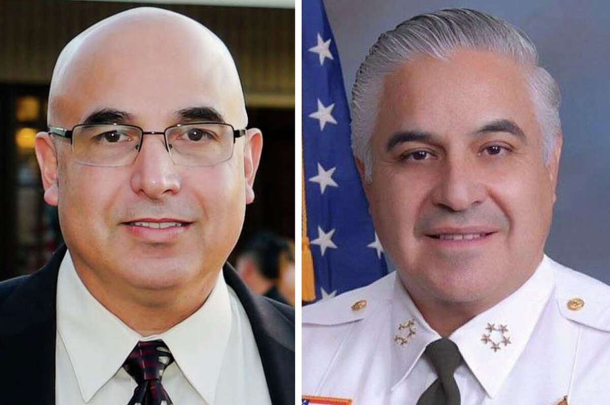Webb County Sheriff Martin Cuellar (right) allegedly criticized his chief opponent in the sheriff race Ponce Coy Trevino (left).