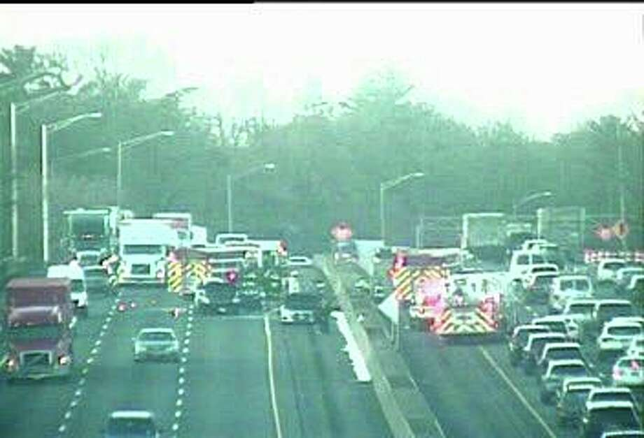 A three-car crash on the northbound side of I-95 in Greenwich snarled traffic during rush-hour on Wednesday morning. Photo: / CT Department Of Transportation