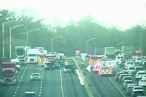 A three-car crash on the northbound side of I-95 in Greenwich snarled traffic during rush-hour on Wednesday morning.