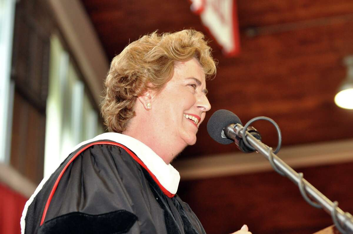 Sister Joan Magnetti, RSCJ, Executive Director Diocese of Bridgeport, Inner City Bridgeport Schools, addresses the Class of 2010 during Fairfield College Preparatory School's 68th Commencement ceremony on Sunday, June 6, 2010.