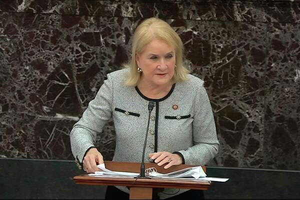 In this image from video, House impeachment manager Rep. Sylvia Garcia, D-Texas,, speaks during debate ahead of a vote on calling witnesses during the impeachment trial against President Donald Trump in the Senate at the U.S. Capitol in Washington, Friday, Jan. 31, 2020. (Senate Television via AP)
