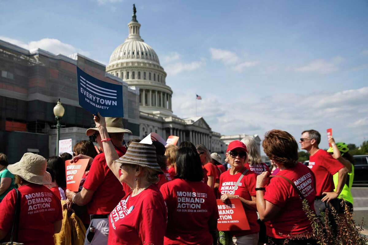 FILE -- Protesters at a demonstration organized by Everytown for Gun Safety, outside the Capitol in Washington, Sept. 10, 2019. Michael Bloomberg's philanthropy has been a boon for progressive causes, earning support from Democrats nationwide even as parts of his record give them pause. (Anna Moneymaker/The New York Times)