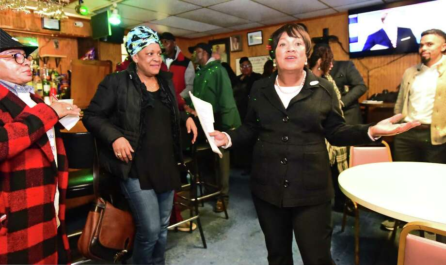 Incumbent New Haven Mayor Toni Harp gives her concession speech to supporters at the IBPOEW East Rock Lodge Elks No. 141 Social Club in New Haven after being defeated by Democratic challenger Justin Elicker in 2019. Photo: Peter Hvizdak / Hearst Connecticut Media / New Haven Register