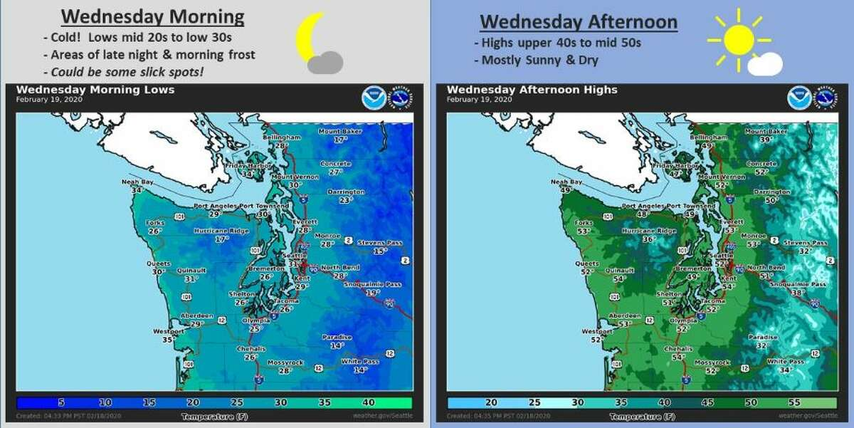 Temperatures could climb to the mid-50s on Wednesday afternoon in Seattle.
