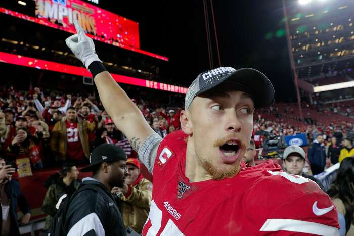 George Kittle (85) celebrates after the San Francisco 49ers defeated the Green Bay Packers 37-20, in the NFC Championship Game at Levi's Stadium in Santa Clara , Calif., on Sunday, January 19, 2020. The 49ers will advance to play in Super Bowl LIV
