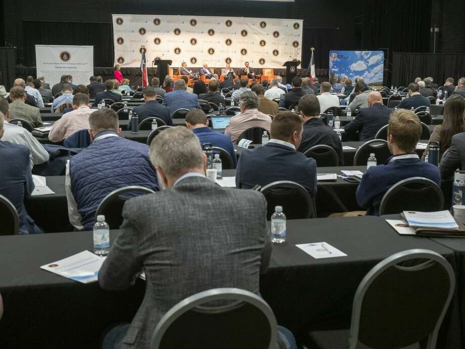 A full house listens to presentations of water usage 02/19/2020 at the Permian Basin Water in Energy Conference at the Nidland County Horseshoe Arena.