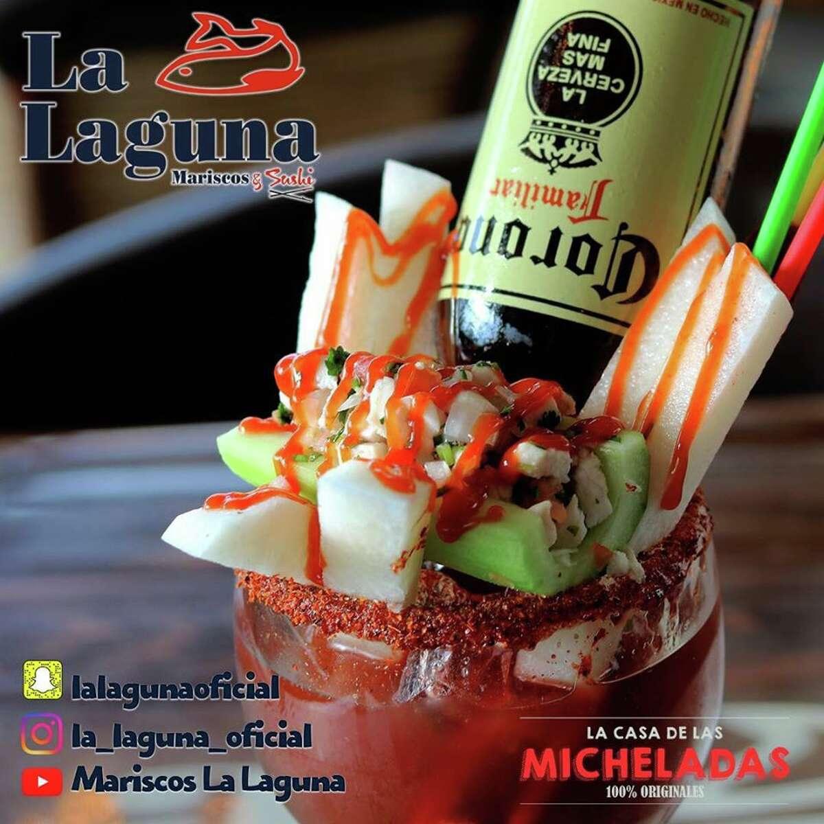 """La Laguna Mariscos & Sushi calls itself """"La Casa De Las Micheladas"""" and has 32 signature cocktails on its menu."""