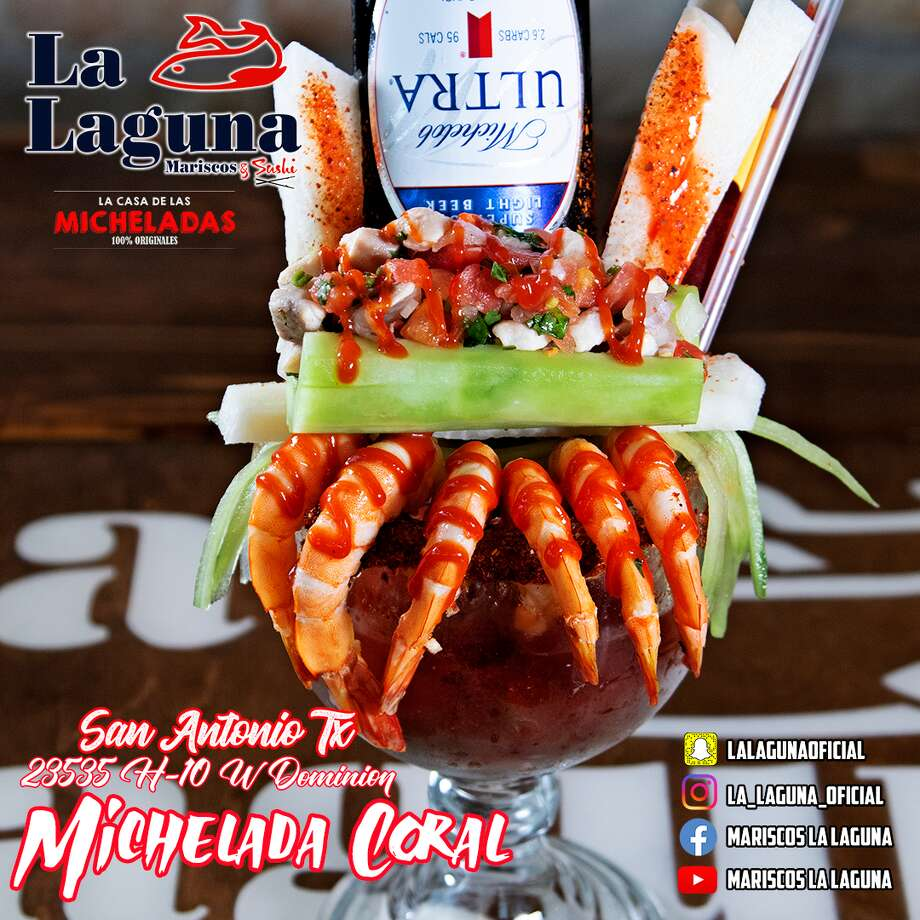 With extravagant micheladas topped with items such as shrimp, stuffed celery and ceviche, Mexico-based restaurant La Laguna Mariscos & Sushi is bringing its specialty cocktails and homemade seafood dishes to San Antonio this summer. Photo: La Laguna Mariscos & Sushi