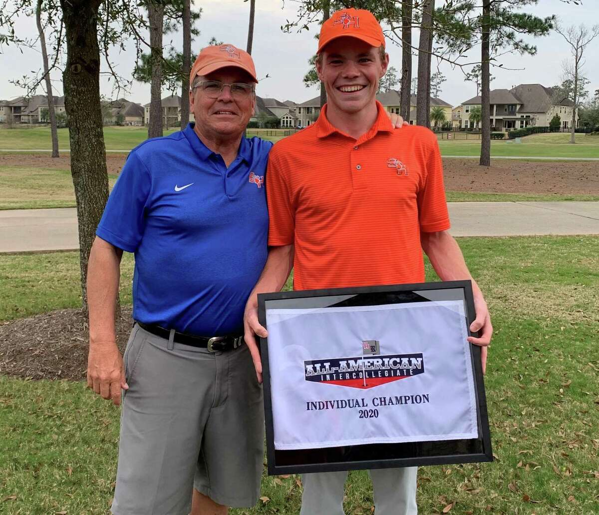 Sam Houston State golfer Jack Randle, right, won the All-American Intercollegiate hosted by the University of Houston on Tuesday, Feb. 18, 2020.