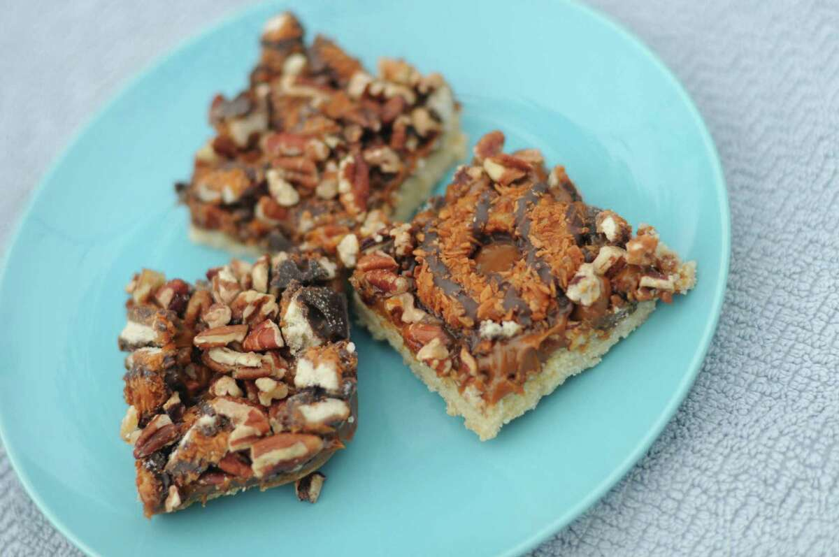 Dulce de Leche Bars with Samoas Girl Scout Cookies