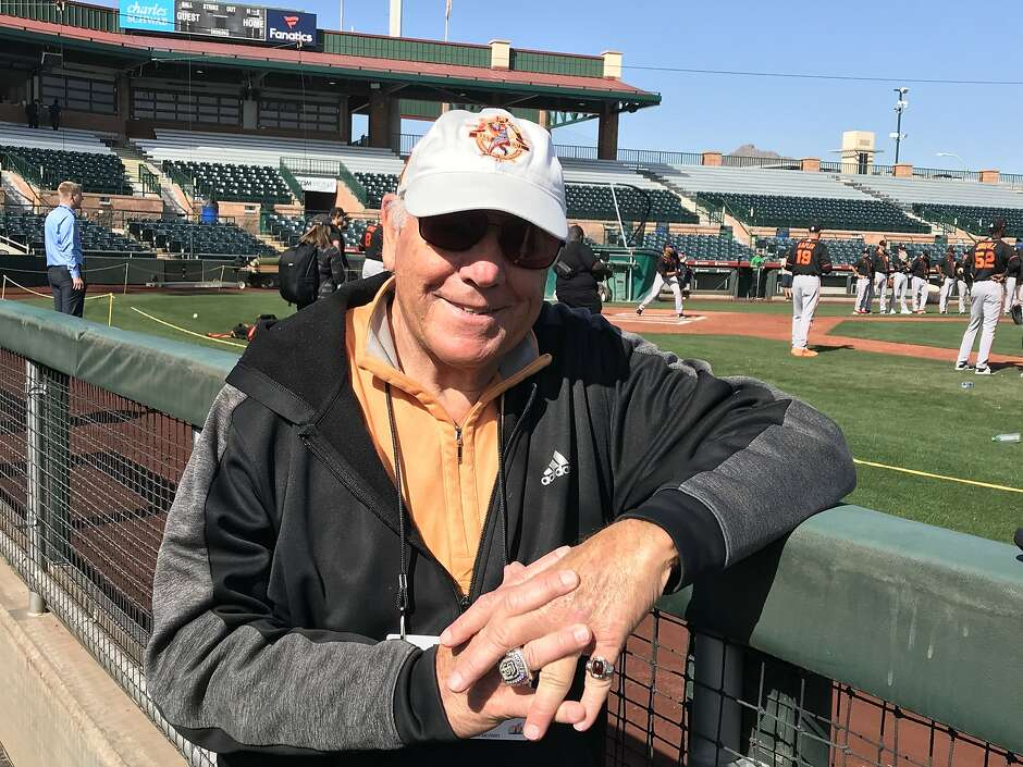 """Talking Baseball"" host Marty Lurie, at Scottsdale Stadium."