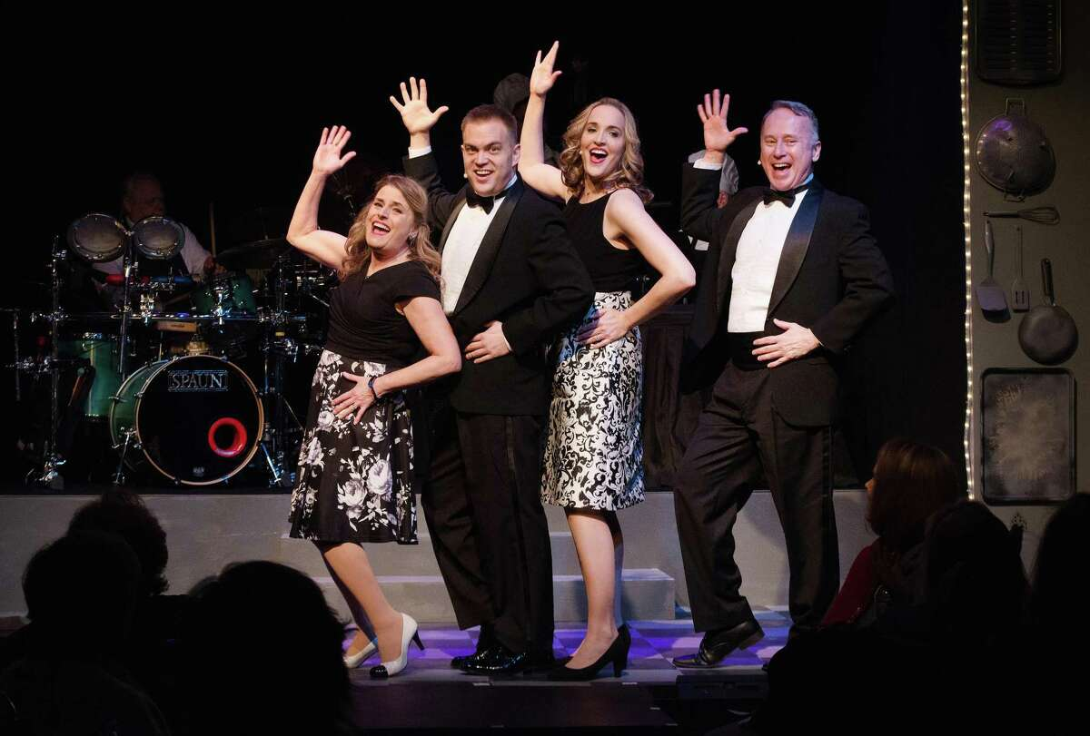 Tracey Marble, Zachary Theis, Anya Caravella and Robert Geils in The Ridgefield Theater Barn's musical Smorgasbord performed in Feb. 2020.