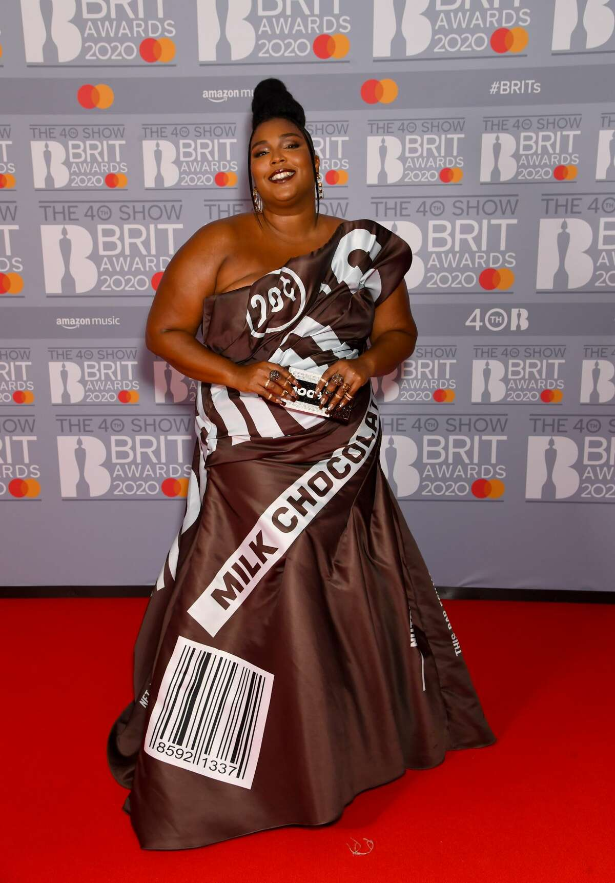 LONDON, ENGLAND - FEBRUARY 18: (EDITORIAL USE ONLY) Lizzo attends The BRIT Awards 2020 at The O2 Arena on February 18, 2020 in London, England. (Photo by Dave J Hogan/Getty Images)